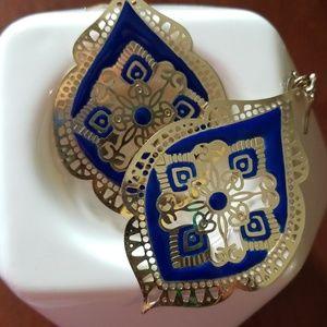 Jewelry - Blue| Gold| Plated Earrings |  Hook Drop|